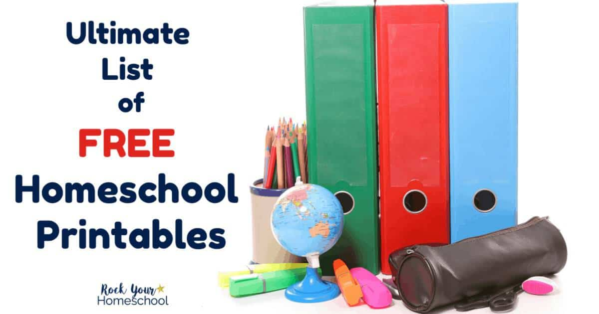 Use this ultimate list of free homeschool printables to save money & time to boost your homeschooling adventures.