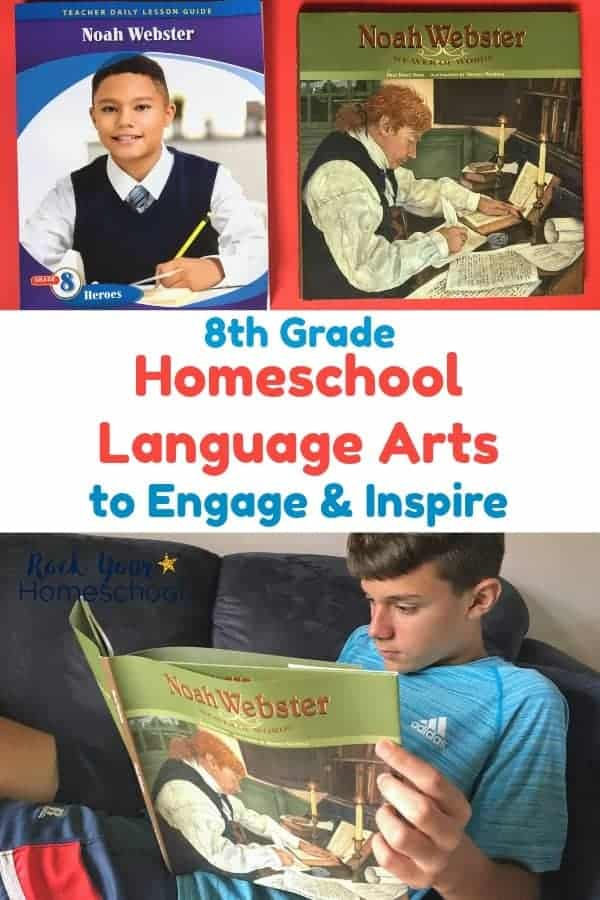 8th grade homeschool language arts teacher's guide & book on red background plus teen boy reading book on blue couch