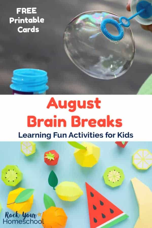 Child blowing bubbles and paper fruit shapes of watermelon, lemon, orange, kiwi, & strawberries on blue background for fun brain break activities