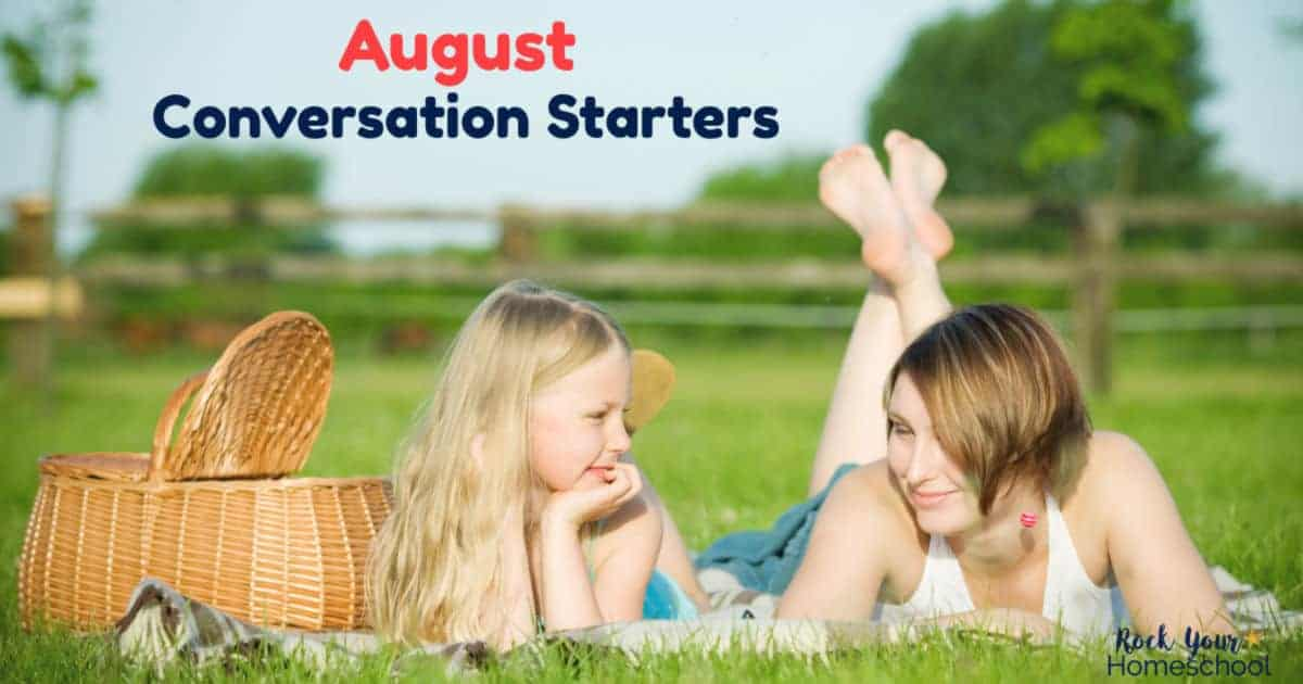 Enjoy fun chats with your kids using these August Conversation Starters with fun holiday & seasonal prompts.