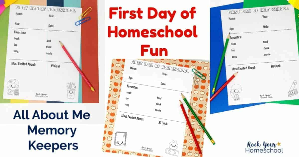 These First Day of Homeschool printables are excellent activities for memory keepers & more.
