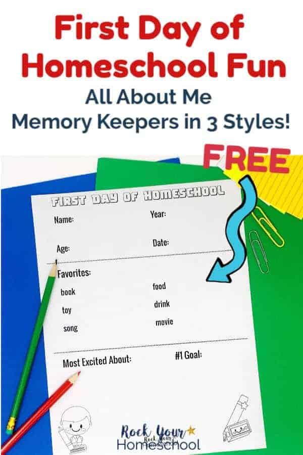 First Day of Homeschool memory keeping printable on blue & green paper with green pencil & sliver and yellow paper clip on white background