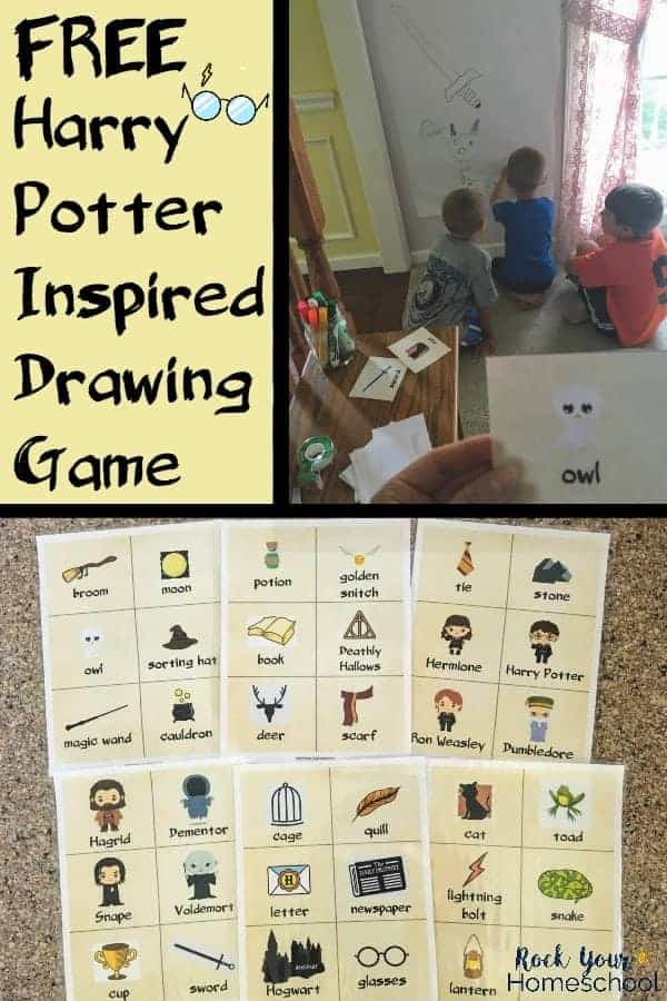 Boys playing Harry Potter-Inspired Drawing Game with printable cards