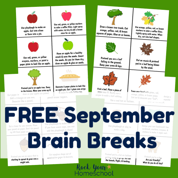Enjoy free September brain breaks for easy homeschool fun.