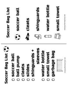 thumbnail of Free Soccer Bag Checklists