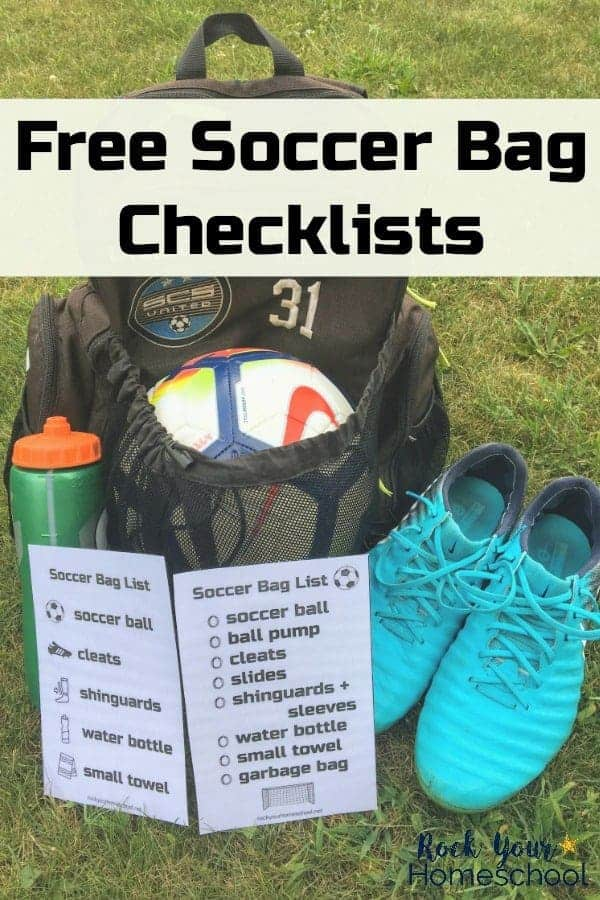 Soccer bag with soccer ball, water ball, soccer cleats, & two free soccer bag checklists on green grass