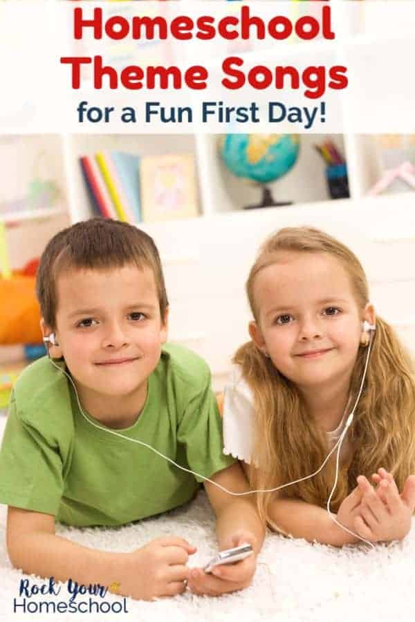 Brother & sister wearing headphones & smiling as they lay on white carpet in their homeschool room