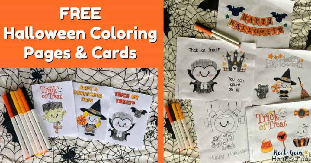 Have special holiday fun with these free Halloween coloring pages & cards for kids.