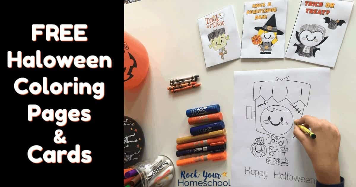 Enjoy these free Halloween coloring pages & cards with your kids! Great for classroom, party, family, & homeschool fun.