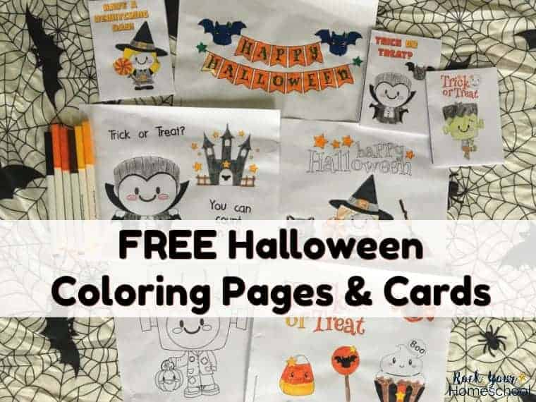 Have some special holiday fun with these FREE Halloween coloring pages & cards for kids. Great for parties, classroom, family, & homeschool fun. Available as instant downloads! #freehalloweencoloringpages #halloweenfun