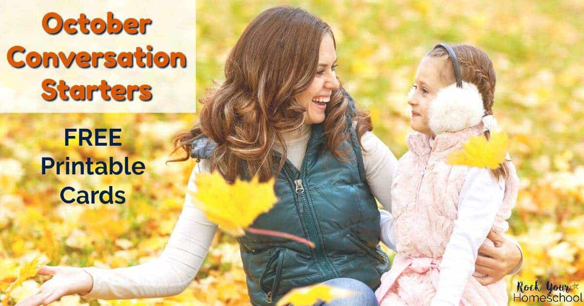 Have fun chats with your kids with these free October Conversation Starters. Great for writing prompts, too.