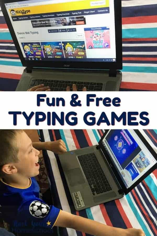 Free typing games on laptop on red, white, & blue tablecloth and smiling boy happy about typing game