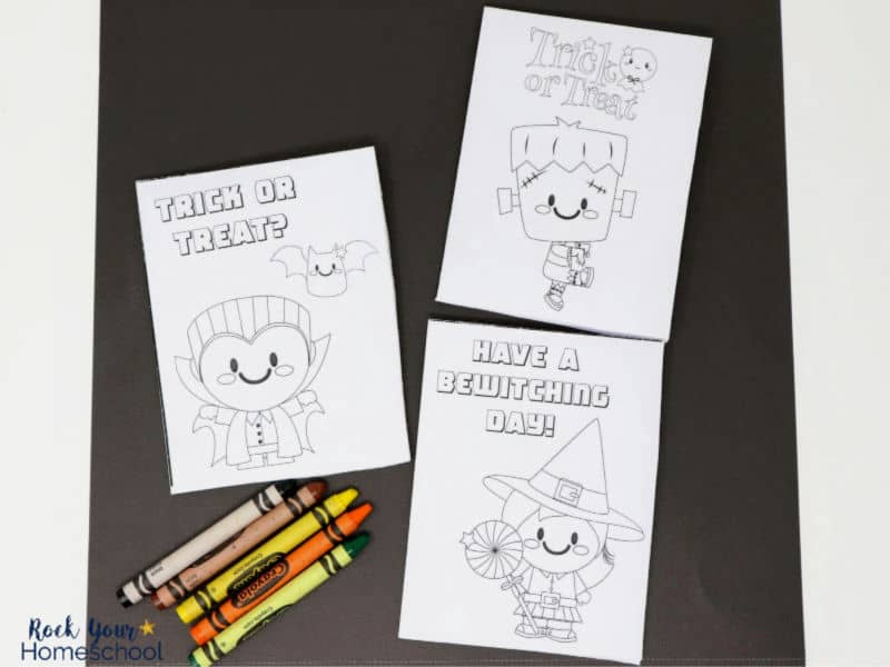 Your kids will love coloring & handing out these free printable Halloween cards!