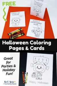 3 free printable Halloween cards for kids featuring vampire, witch, & Frankenstein on orange paper with crayons and cute Frankenstein monster coloring page with Happy Halloween on black paper with crayons