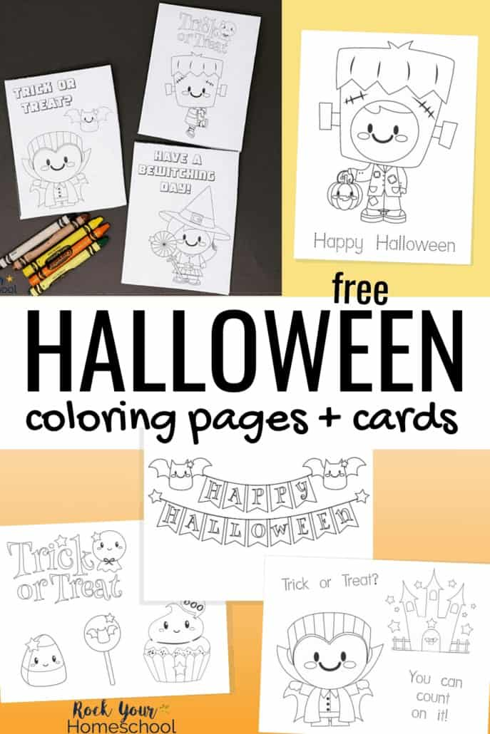 Halloween coloring pages & cards with crayons to feature the special holiday fun your kids will have with this free instant download set