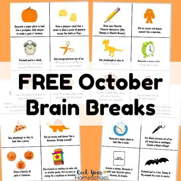 Have easy homeschool fun with these free October Brain Breaks!
