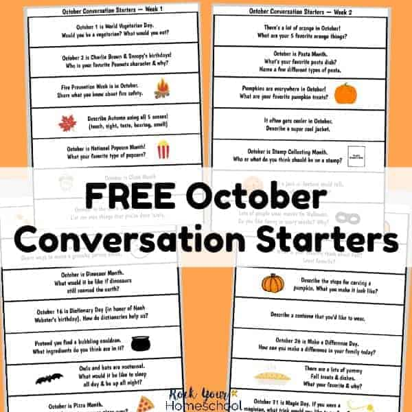 Have easy & fun chats with your kids this Fall with these free October conversation starters.