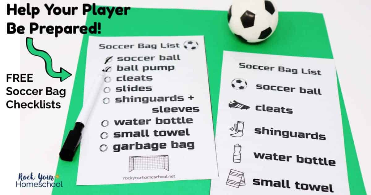 Help your soccer players be prepared for practices & games with these free soccer bag checklists.