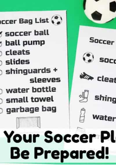 Help your kids learn how to get ready for soccer practices & games! Two free soccer bag checklists are available as instant download to help you save your time & sanity.
