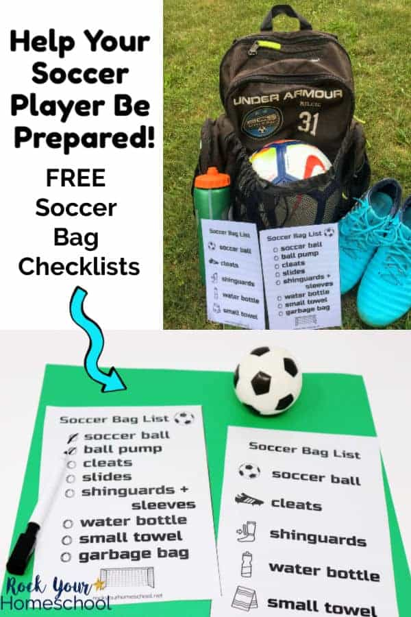 Soccer bag with soccer ball, water bottle & cleats plus 2 soccer bag checklists on grass and soccer bag checklists on green paper with small toy soccer ball