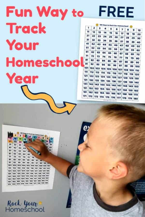 Free 180 Days to Rock Your Homeschool printable cart with young boy smiling & using crayon to fill in chart