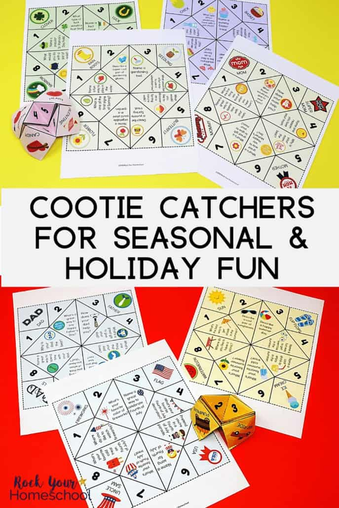 Variety of cootie catchers for seasonal & holiday fun to feature all the hands-on & interactive fun you can have with these activities for brain breaks, conversation starters, writing prompts, & more