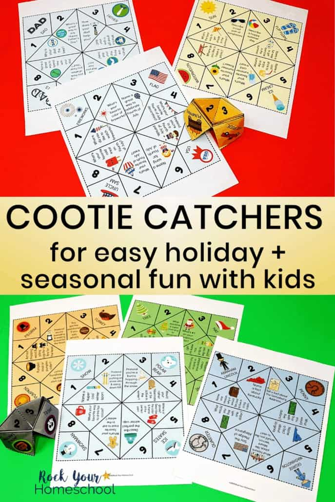 A variety of seasonal & holiday fun cootie catchers on red & green background to feature all the hands-on, interactive fun you can have with kids using these paper foldable activities