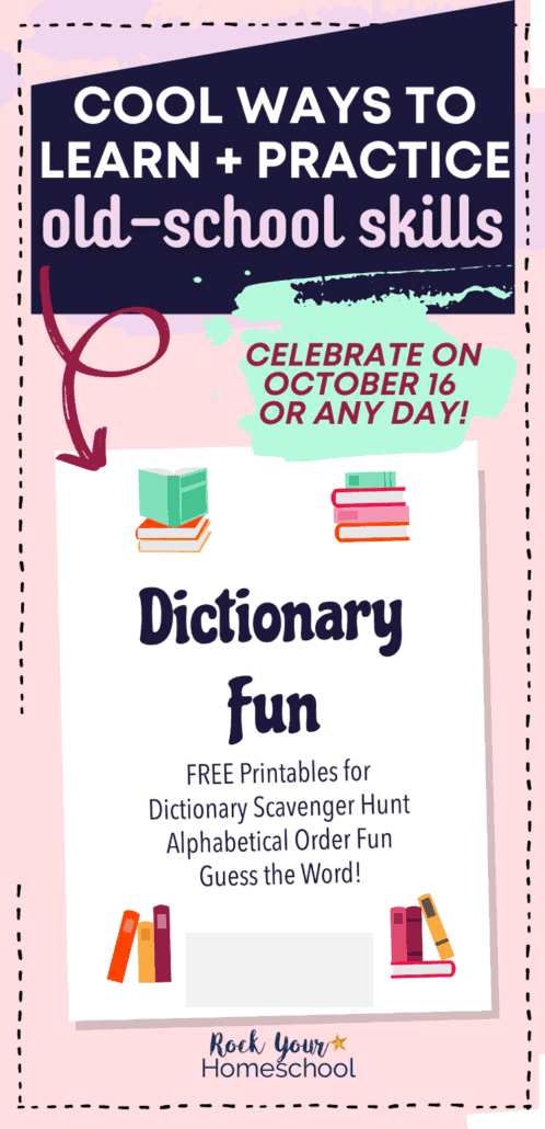 Dictionary Fun printable pack cover to feature how these free printable activities will help your kids learn old-school skills with a dictionary