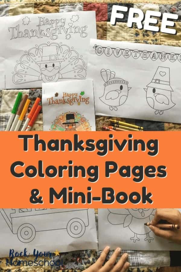 Thanksgiving coloring pages with boys using crayons on Fall quilt