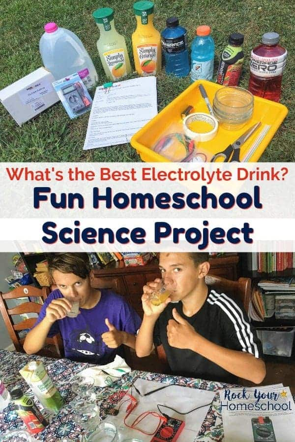 Electrolyte Challenge Sensor Kit & sports drinks and two teen soccer players drinking orange juice