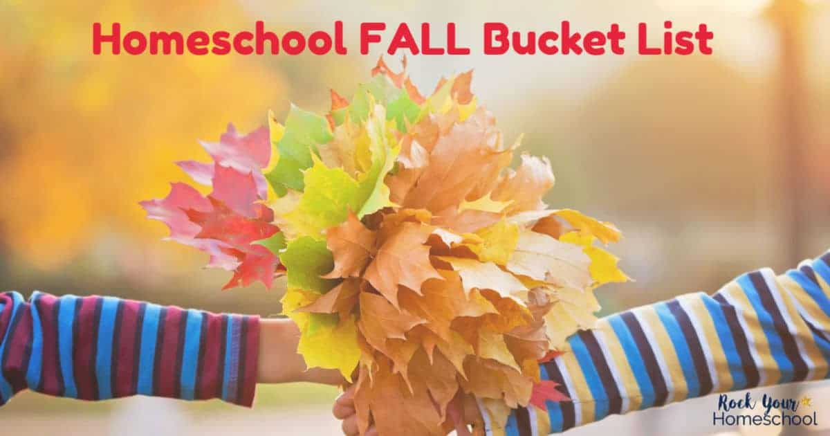 This free Homeschool Fall Bucket List is an excellent way to get ready for autumn fun activities.