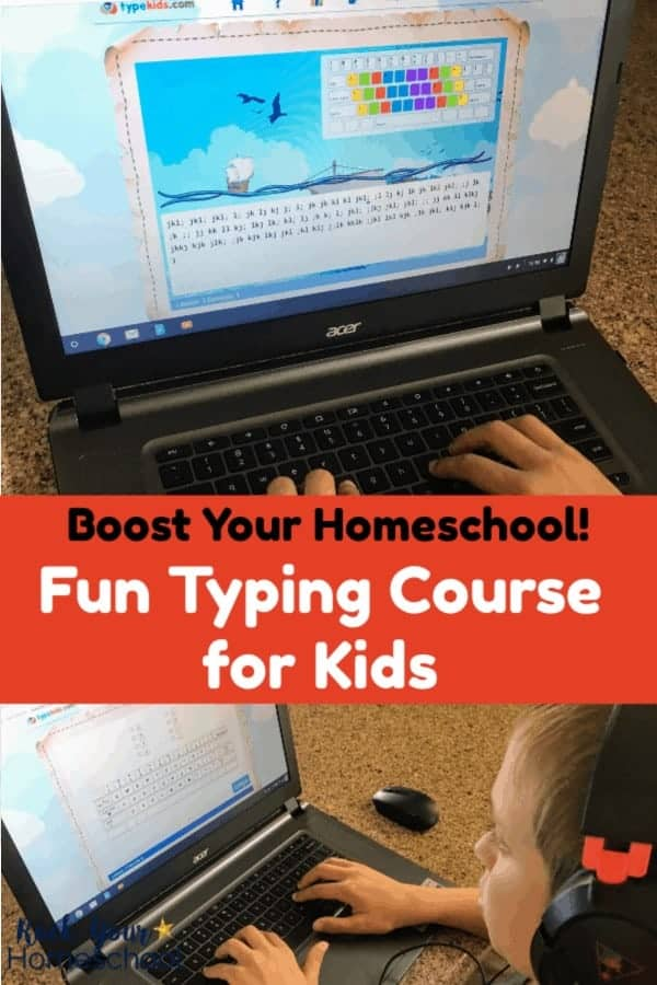 Young boy wearing headphones practicing typing course for kids on laptop