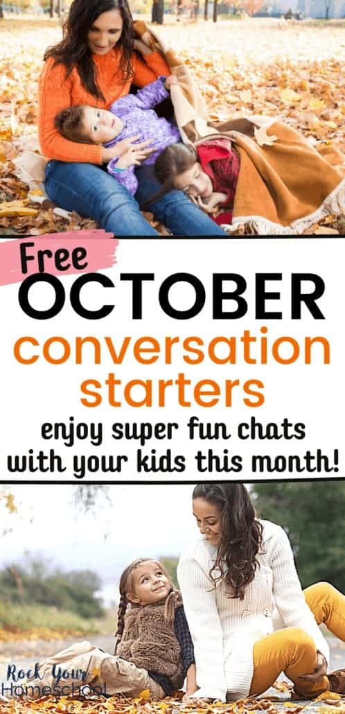 Mom with 2 kids in leaves & mom with daughter in the Fall to feature the fun chats you'll have with your kids using these free October conversation starters