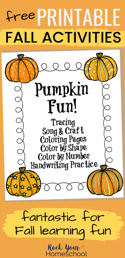 Learning fun with pumpkins cover to feature the awesome Fall learning fun your kids will have with the variety of printable activities in this pack