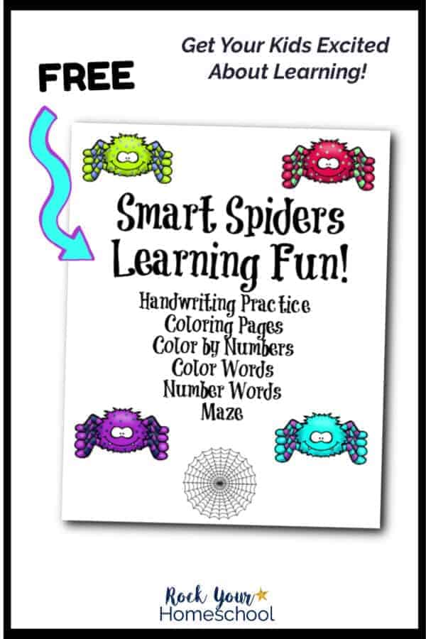 Smart Spiders Learning Fun printable pack cover on white background with light blue arrow