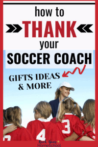 Female soccer coach wearing white hat is smiling at her soccer team with red uniforms to feature great gift ideas & more to thank your soccer coach