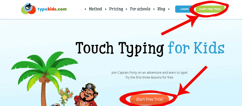 Give this free trial of TypeKids a try! 3 free lessons of this typing course for kids.