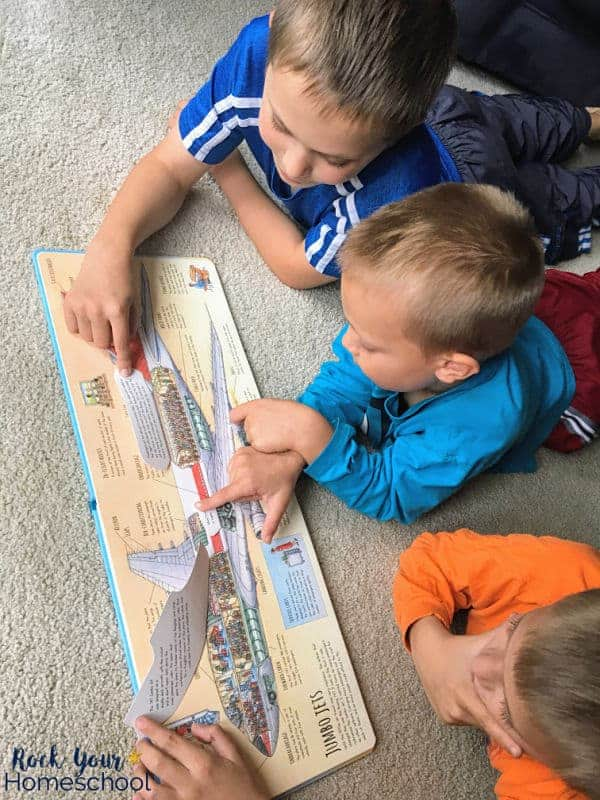 This lift-the-flap book is an excellent way to get your kids chatting about ways to explore the world around them.