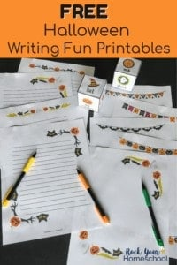 11 pages & activities with Halloween themes on black background with mechanical pencils
