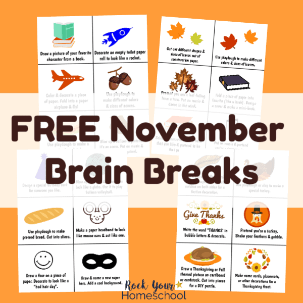 These free November Brain Breaks are wonderful ways to have easy homeschool fun. 24 printable cards with creative ideas & interactive fun.
