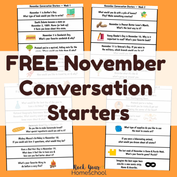 Enjoy these free printable November conversation starters to help you have fun chats with your kids.