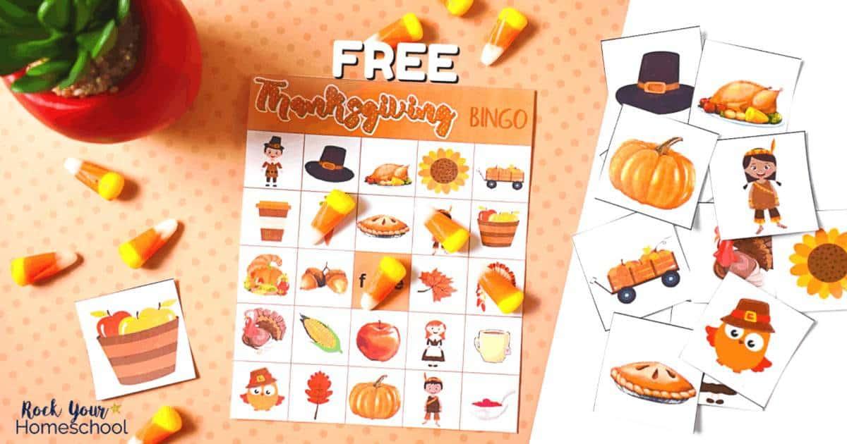 Enjoy holiday fun with kids using this free printable Thanksgiving Bingo game.