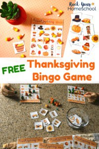 Thanksgiving bingo game with candy corn on orange dot background and two kids playing Thanksgiving Bingo using colorful wood beads on marble surface