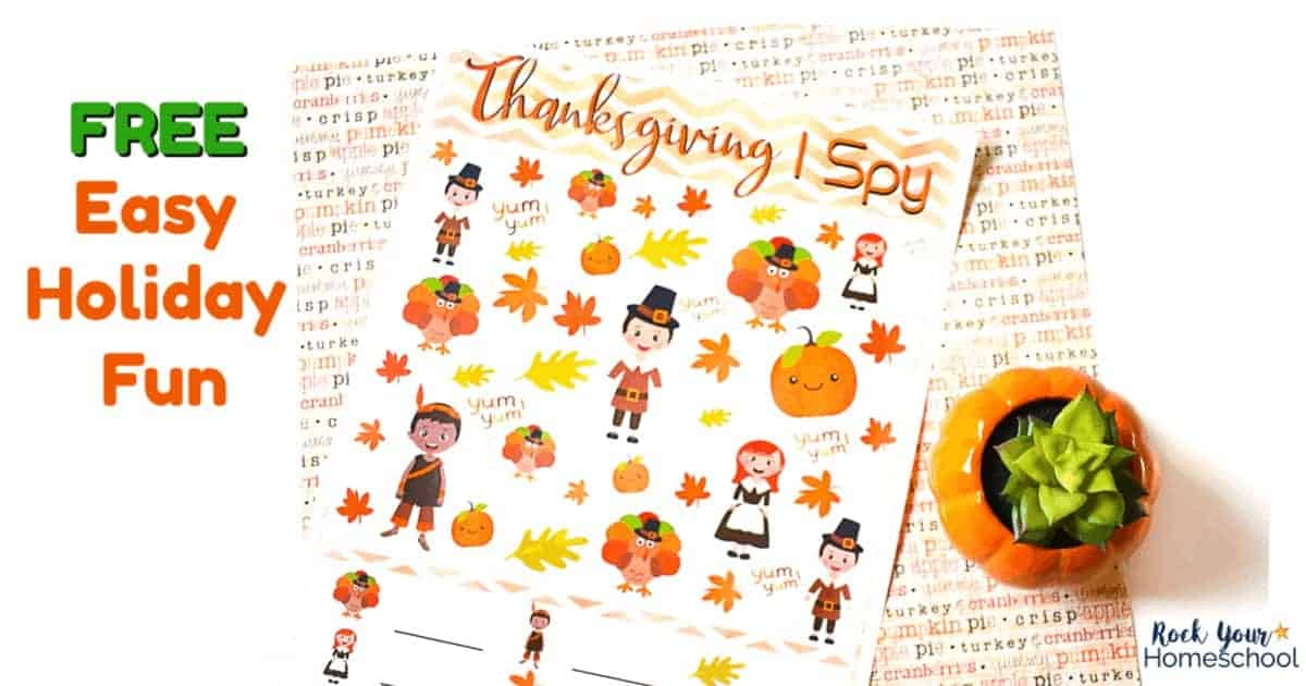 Enjoy this free printable Thanksgiving I Spy activity for easy holiday fun with kids.
