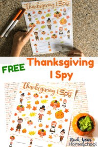 Boy using marker to play Thanksgiving I Spy on marble surface and free printable Thanksgiving I Spy activity