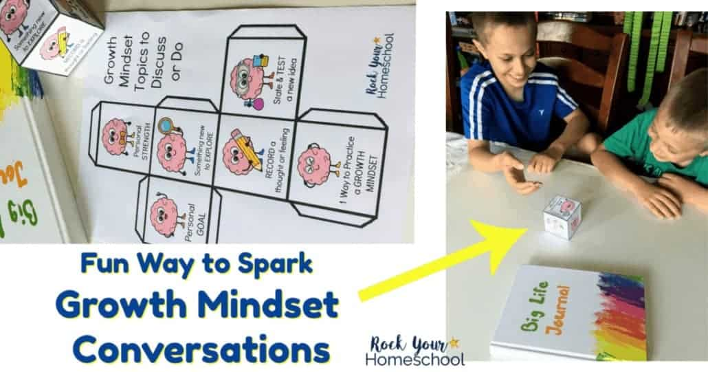 Get your kids excited about growth mindset lessons & discussions with this free printable Growth Mindset Topics Cube. Great for family, homeschool, & classroom activities!