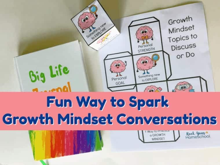 Boost your growth mindset lessons & discussions with this free printable Growth Mindset for Kids Conversations Cube. Awesome hands-on way to use interactive fun to spark conversations.