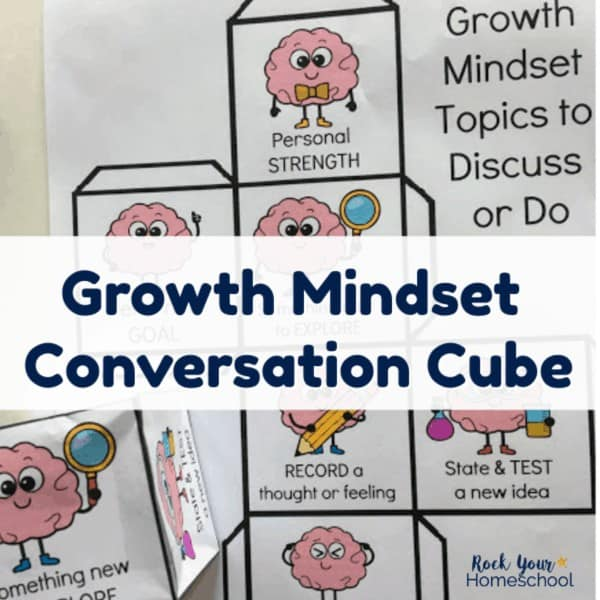 This free printable Growth Mindset for Kids Conversation Cube is an excellent way to add hands-on fun to your discussions and lessons.