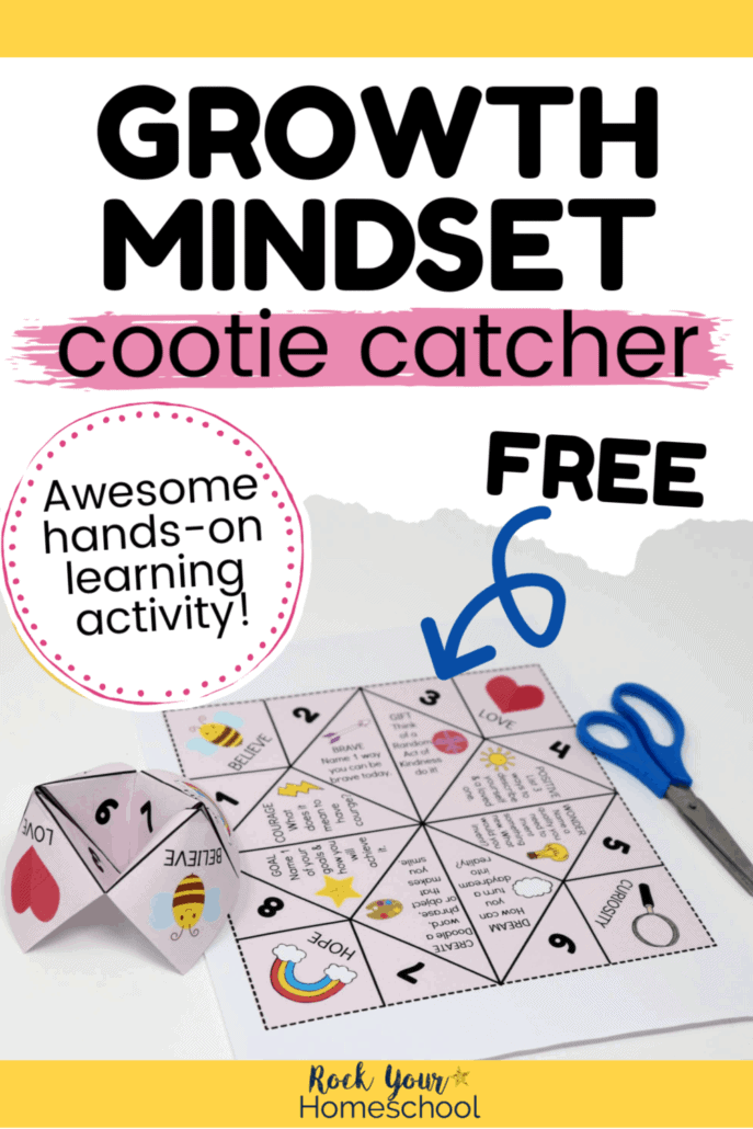 Folded & printable page of free Growth Mindset cootie catcher with blue scissors to feature the awesome hands-on activity to teach & practice growth mindset skills