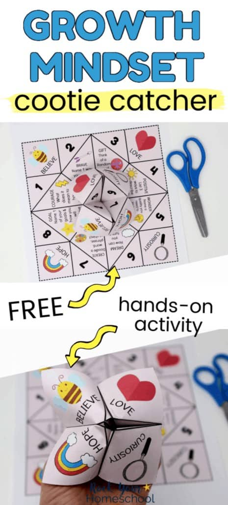 Folded & printable page of growth mindset cooties catcher with blue scissors & woman holding a growth mindset cootie catcher to feature the awesome hands-on learning fun you can have with this growth mindset activity for kids